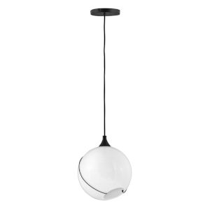 Skye Black One-Light Pendant With Cased Opal Glass
