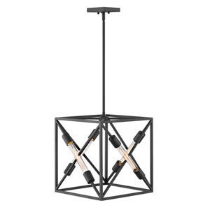 Hewitt Satin Black 15-Inch Four-Light Pendant