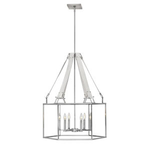Monroe Polished Nickel Six-Light Chandelier
