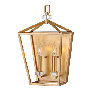 Stinson Distressed Brass Two-Light Wall Sconce