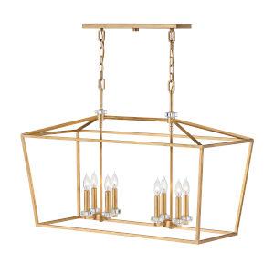 Stinson Distressed Brass Eight-Light Chandelier