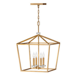 Stinson Distressed Brass Four-Light Pendant