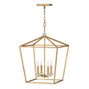 Stinson Distressed Brass 18-Inch Four-Light Chandelier
