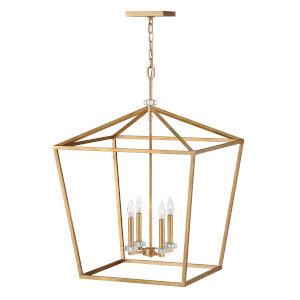 Stinson Distressed Brass 22-Inch Four-Light Chandelier