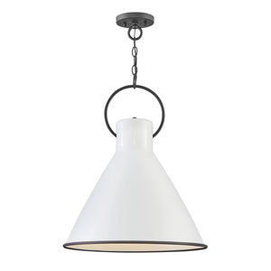 Winnie Polished White 18-Inch One-Light Pendant
