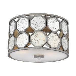 Lara Brushed Silver Three-Light Flush Mount