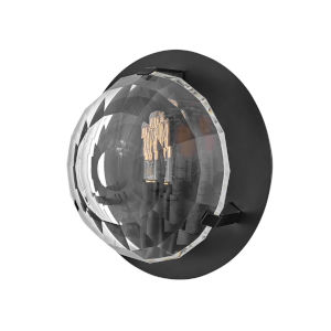 Leo Black One-Light Wall Sconce With Optic Crystal Glass