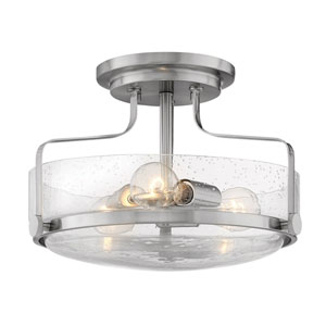 Harper Brushed Nickel 15-Inch Three-Light Semi Flush Mount