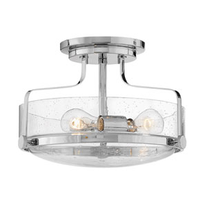 Harper Chrome 15-Inch Three-Light Semi Flush Mount