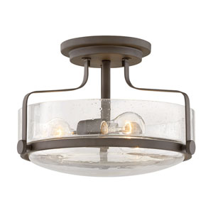 Harper Oil Rubbed Bronze 15-Inch Three-Light Semi Flush Mount