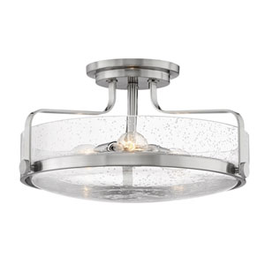 Harper Brushed Nickel 18-Inch Three-Light Semi Flush Mount