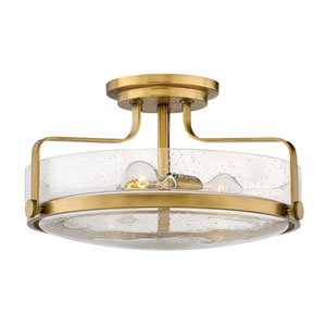 Harper Heritage Brass 18-Inch Three-Light Semi Flush Mount