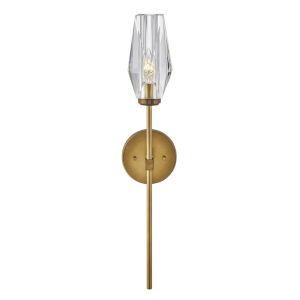 Ana Heritage Brass One-Light Wall Sconce With Faceted Clear Crystal Glass