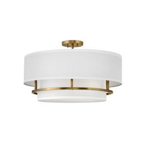 Graham Lacquered Brass Four-Light Foyer Semi-Flush Mount