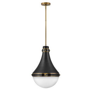 Oliver Black One-Light Pendant With Etched Opal Glass