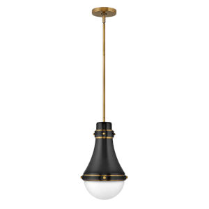 Oliver Black One-Light Mini Pendant With Etched Opal Glass