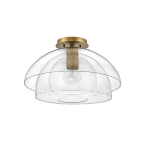 Lotus Heritage Brass One-Light Foyer Convertible Semi-Flush Mount With Clear Glass