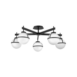 Hollis Black Five-Light Foyer Semi-Flush Mount With Etched Opal Glass