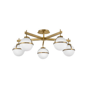 Hollis Heritage Brass Five-Light Foyer Semi-Flush Mount With Etched Opal Glass
