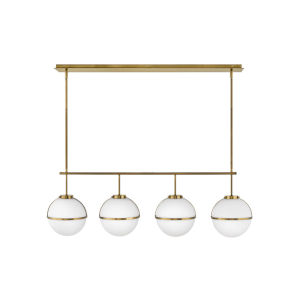 Hollis Heritage Brass Four-Light Pendant With Etched Opal Glass