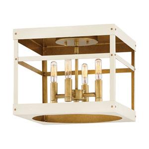 Porter Heritage Brass and White 12-Inch Four-Light Flush Mount