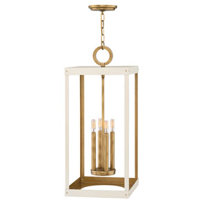 Porter Heritage Brass and White 12-Inch Four-Light Pendant