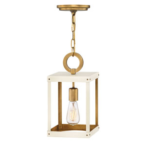 Porter Heritage Brass and White Seven-Inch One-Light Mini Pendant