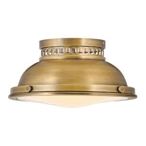 Emery Heritage Brass Two-Light Flush Mount