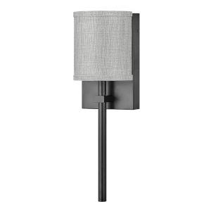 Avenue Black One-Light LED Wall Sconce with Heathered Gray Slub Shade