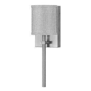 Avenue Brushed Nickel One-Light LED Wall Sconce with Heathered Gray Slub Shade