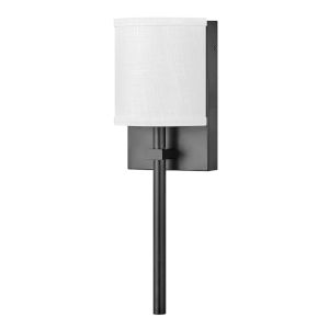 Avenue Black One-Light LED Wall Sconce with Off White Linen Shade