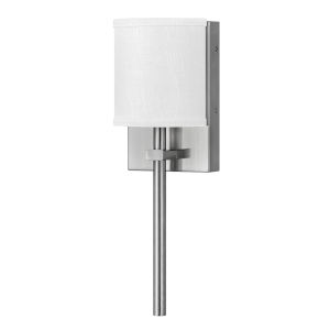 Avenue Brushed Nickel One-Light LED Wall Sconce with Off White Linen Shade