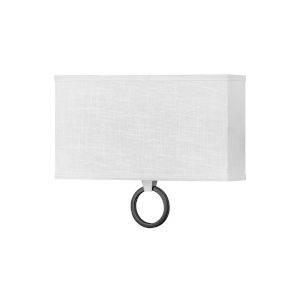 Link Brushed Nickel Two-Light LED Wall Sconce with Off White Linen Shade