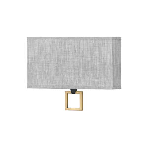 Link Black Two-Light LED Wall Sconce with Heathered Gray Slub Shade