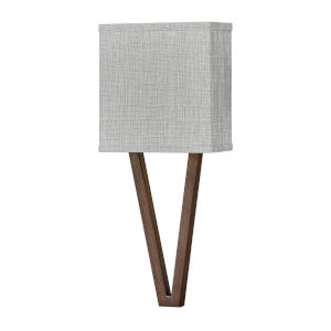 Vector Walnut One-Light LED Wall Sconce with Heathered Gray Slub Shade