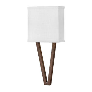 Vector Walnut One-Light LED Wall Sconce with Off White Linen Shade