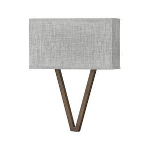 Vector Walnut Two-Light LED Wall Sconce with Heathered Gray Slub Shade