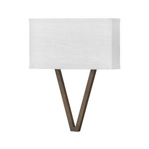 Vector Walnut Two-Light LED Wall Sconce with Off White Linen Shade
