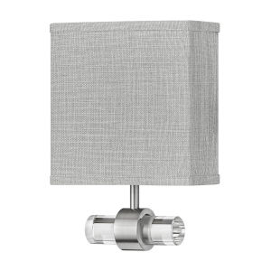 Luster Brushed Nickel One-Light LED Wall Sconce with Heathered Gray Slub Shade
