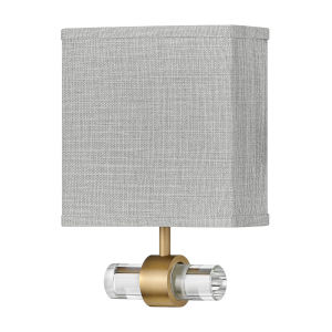 Luster Heritage Brass One-Light LED Wall Sconce with Heathered Gray Slub Shade