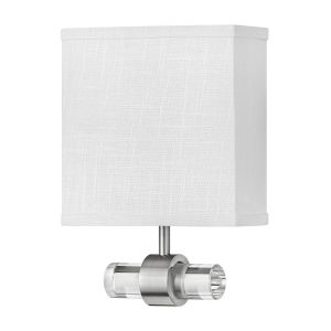 Luster Brushed Nickel One-Light LED Wall Sconce with Off White Linen Shade