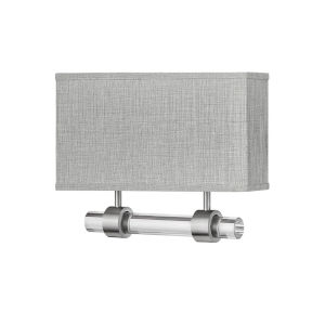 Luster Brushed Nickel Two-Light LED Wall Sconce with Heathered Gray Slub Shade