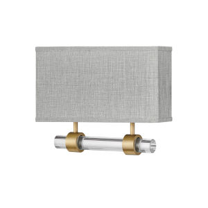 Luster Heritage Brass Two-Light LED Wall Sconce with Heathered Gray Slub Shade