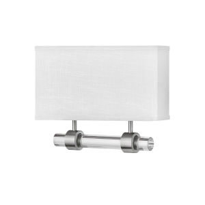 Luster Brushed Nickel Two-Light LED Wall Sconce with Off White Linen Shade