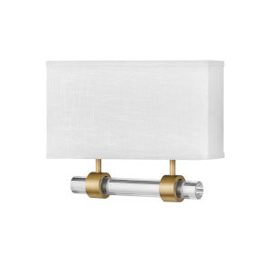 Luster Heritage Brass Two-Light LED Wall Sconce with Off White Linen Shade