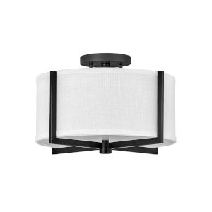 Axis Black Two-Light LED Semi-Flush Mount with Off White Linen Shade