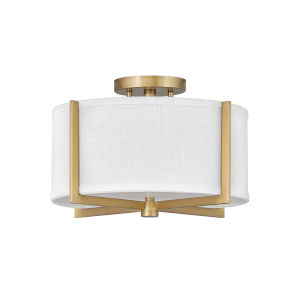 Axis Heritage Brass Two-Light LED Semi-Flush Mount with Off White Linen Shade
