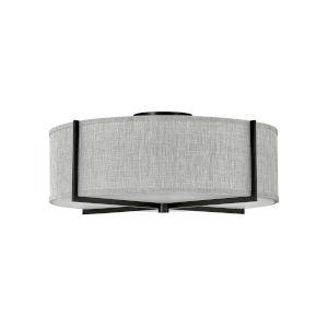 Axis Black Four-Light LED Semi-Flush Mount with Heathered Gray Slub Shade