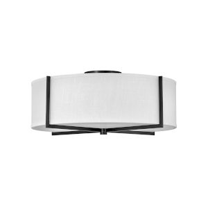 Axis Black Four-Light LED Semi-Flush Mount with Off White Linen Shade