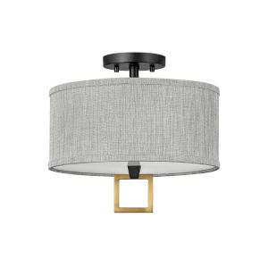 Link Black Two-Light LED Semi-Flush Mount with Heathered Gray Slub Shade